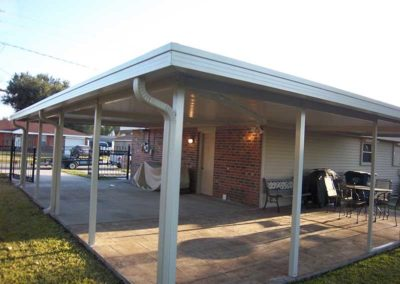 Non insulated patio cover carport with angle cut corner