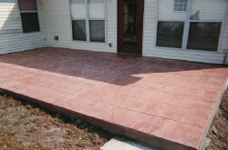 Stamped concrete slab